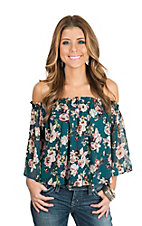 Berry N Cream Women's Teal Floral Print Off the Shoulder Fashion Shirt