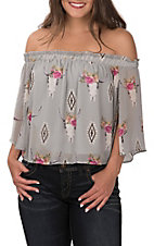 Berry N Cream Grey with Aztec Floral Skull Print Off the Shoulder Short Sleeve Cropped Fashion Top