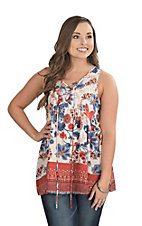 Peach Love Women's Flower Print with Lace Up Front Sleeveless Fashion Top