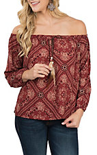 Berry N Cream Women's Burgundy Bandana Fashion Shirt