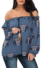 Peach Love Women's Blue Skull Print Off the Shoulder Fashion Shirt