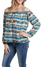 Berry N Cream Women's Aztec Skull Print Off the Shoulder Long Sleeve Fashion Top