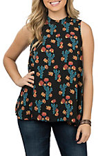 Berry N Cream Women's Black, Teal and Orange Cactus Print Fashion Shirt