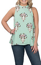 Peach Love Women's Mint Skull Print Tank Fashion Shirt