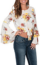 Peach Love Women's Ivory with Multi-Floral Print Long Bell Sleeve Tie Front Cropped Fashion Top