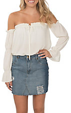 Peach Love Women's Solid White Ruffle Sleeve Off the Shoulder Fashion Shirt