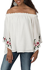 Berry N Cream Women's Ivory Floral Embroidery Off the Shoulder Fashion Shirt