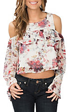 Berry N Cream Women's Ivory and Red Floral Cold Shoulder Crop Fashion Shirt