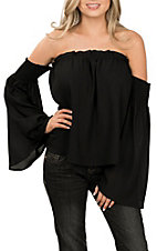 Peach Love Women's Black Off the Shoulder Fashion Shirt