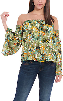 Berry N Cream Women's Green Cactus Print Off the Shoulder Fashion Top