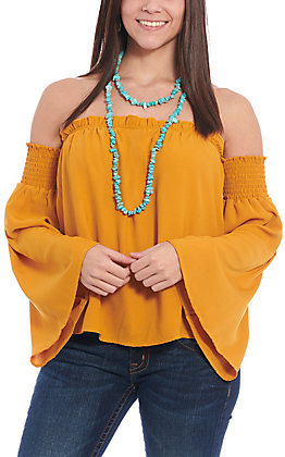 Berry N Cream Women's Mustard Off the Shoulder Fashion Top