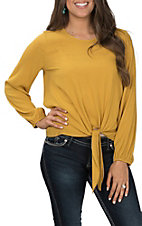 Peach Love Women's Mustard Tie Front Fashion Top