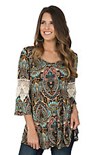 R. Rouge Women's Chocolate & Turquoise Paisley with Crochet Sleeves Fashion Shirt