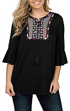 R. Rouge Women's Black Embroidered Yoke Fashion Shirt