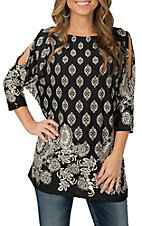 R. Rouge Women's Black and Cream Print Cold Shoulder Fashion Shirt