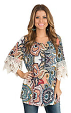 R. Rouge Women's Coral & Blue Paisley Crochet Sleeve Fashion Shirt