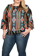 R. Rouge Women's Black Aztec Print Fashion Shirt - Plus Size