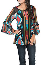 R. Rouge Women's Black Aztec Print Fashion Shirt