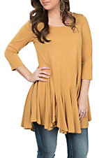 R. Rouge Women's Mustard Solid Ruffle Bottom Tunic