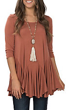 R. Rouge Women's Rust Solid Ruffle Bottom Tunic