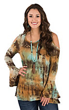 R. Rouge Women's Turquoise & Brown Tie Dye Cold Shoulder L/S Fashion Shirt