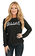 Lovely Souls Women's Black with White Script Blessed Screen Print on Front Long Sleeve Casual Knit Shirt