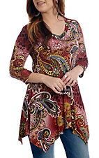 R. Rouge Women's Burgundy Animal Paisley 3/4 Sleeve V-Neck Fashion Top