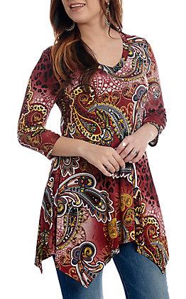 R. Rouge Women's Burgundy Animal Paisley 3/4 Sleeve V-Neck Fashion Top