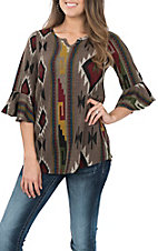R. Rouge Women's Grey Aztec Print Fashion Shirt