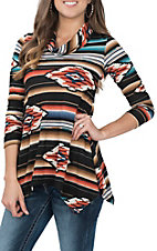 R. Rouge Women's Black, Coral and Teal Aztec Print L/S Fashion Shirt