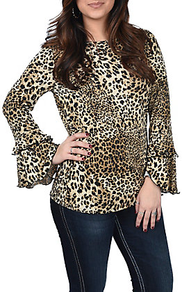 R. Rouge Leopard Print Bell Sleeve Fashion Top