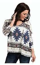 PPLA Women's Ivory with Navy Aztec Print Long Sleeve Top