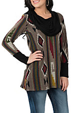R. Rouge Women's Grey, Black and Red L/S Tunic Fashion Shirt