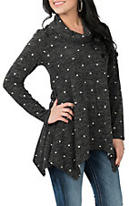 R. Rouge Women's Grey Polka Dot L/S Tunic Fashion Shirt