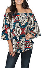 R. Rouge Women's Aztec Off the Shoulder Print Fashion Top