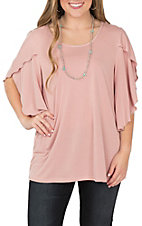 R Rouge Women's Mauve Flutter Sleeve Casual Knit Shirt