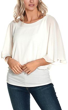 R.Rouge Women's White Chiffon Short Sleeve Fashion Top