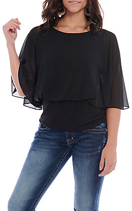 R.Rouge Women's Black Chiffon Short Sleeve Fashion Top