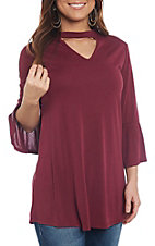 R. Rouge Women's Dark Wine Choker Bell Sleeve Fashion Top