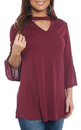 R. Rouge Women's Dark Wine Choker Bell Sleeve Fashion Top