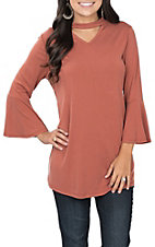 R. Rouge Women's Rust Choker Bell Sleeve Fashion Top