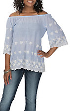 R. Rouge Women's Blue Stripe W/ White Floral Embroidery Fashion Shirt