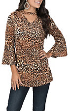 R. Rouge Leopard Print Choker Bell Sleeve Fashion Top