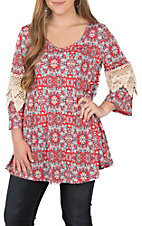 R. Rouge Red and Blue Geo Print Crochet Sleeves Tunic Fashion Top