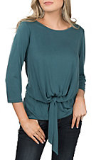 R. Rouge Women's Teal Solid Tie Front Top