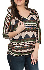 R. Rouge Women's Brown and Blue Aztec Print Fashion Shirt