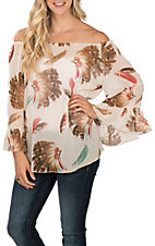 R. Rouge Women's Cream Headdress Feather Print 3/4 Sleeves Chiffon Fashion Top