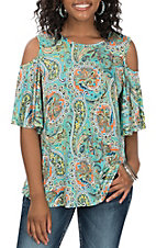 R. Rouge Women's Mint Green with Orange and Yellow Paisley Print Cold Shoulder 3/4 Sleeve Fashion Top