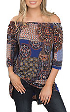 R. Rouge Women's Royal and Orange Paisley Top