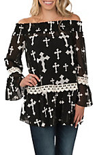 R. Rouge Women's Black Cross Print Off the Shoulder Fashion Shirt